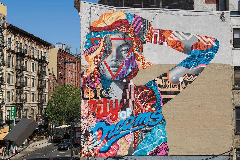 Graffiti Big City dreams pintado por el artista urbano tristan eaton