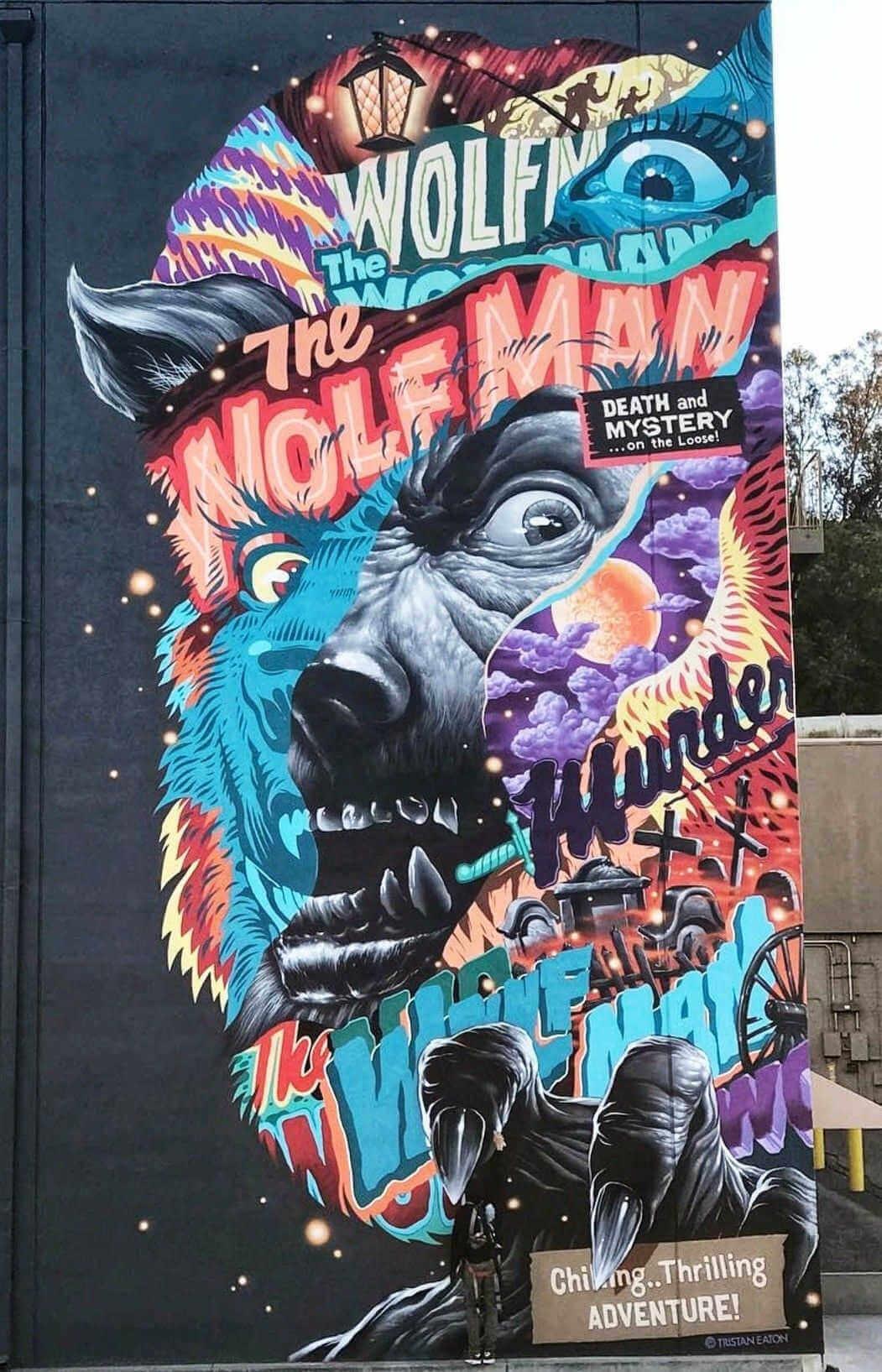 Mural del hombre lobo pintado por trista eaton