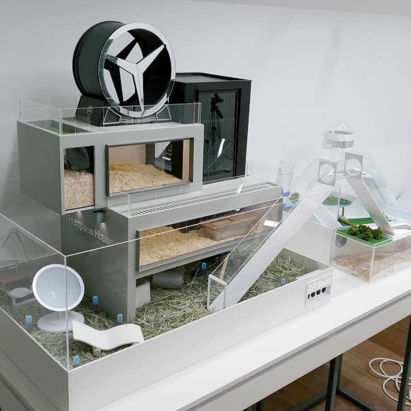 casa de lujo de diseño industrail para hamsters