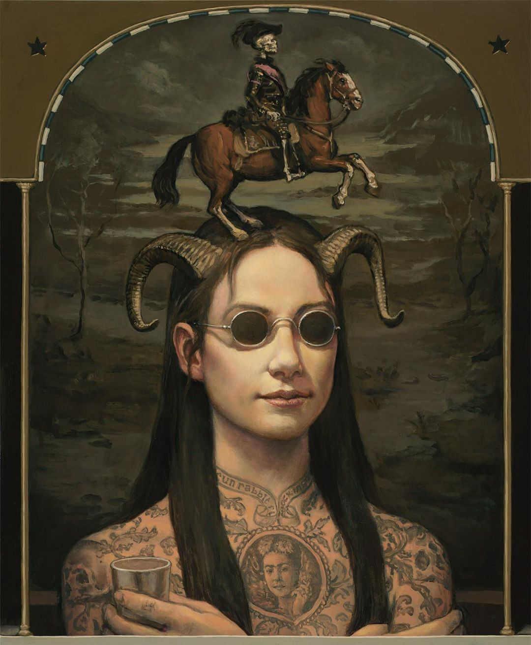 pintura al oleo de hombre tatuado con cuernos