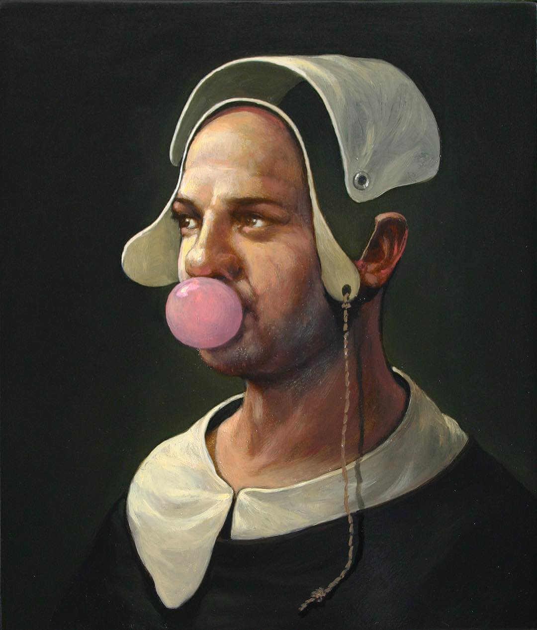 pintura al oleo de Alan MacDonald mujer con chicle