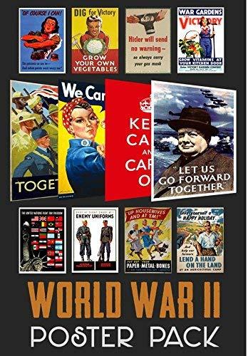 Guerra Mundial 2Propaganda Poster (12unidades), diseño carteles) WWII–Ideal para escuelas–A4Tamaño De Papel