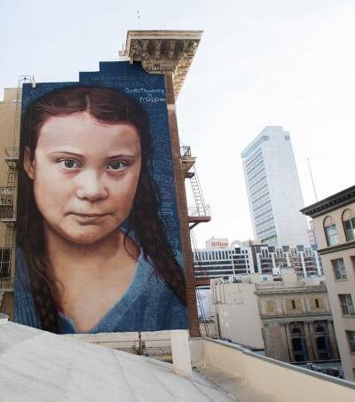 mural de la activista greta thunberg