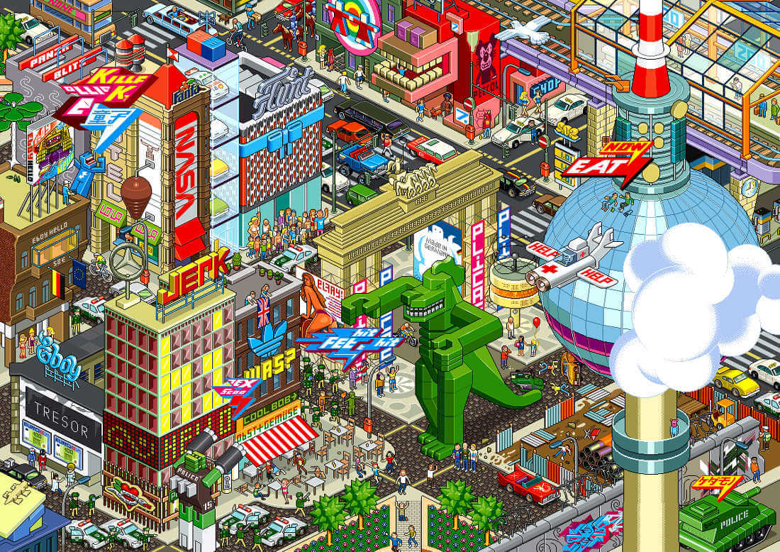 Ilustración de una ciudad en perspectiva isometrica en pixel art
