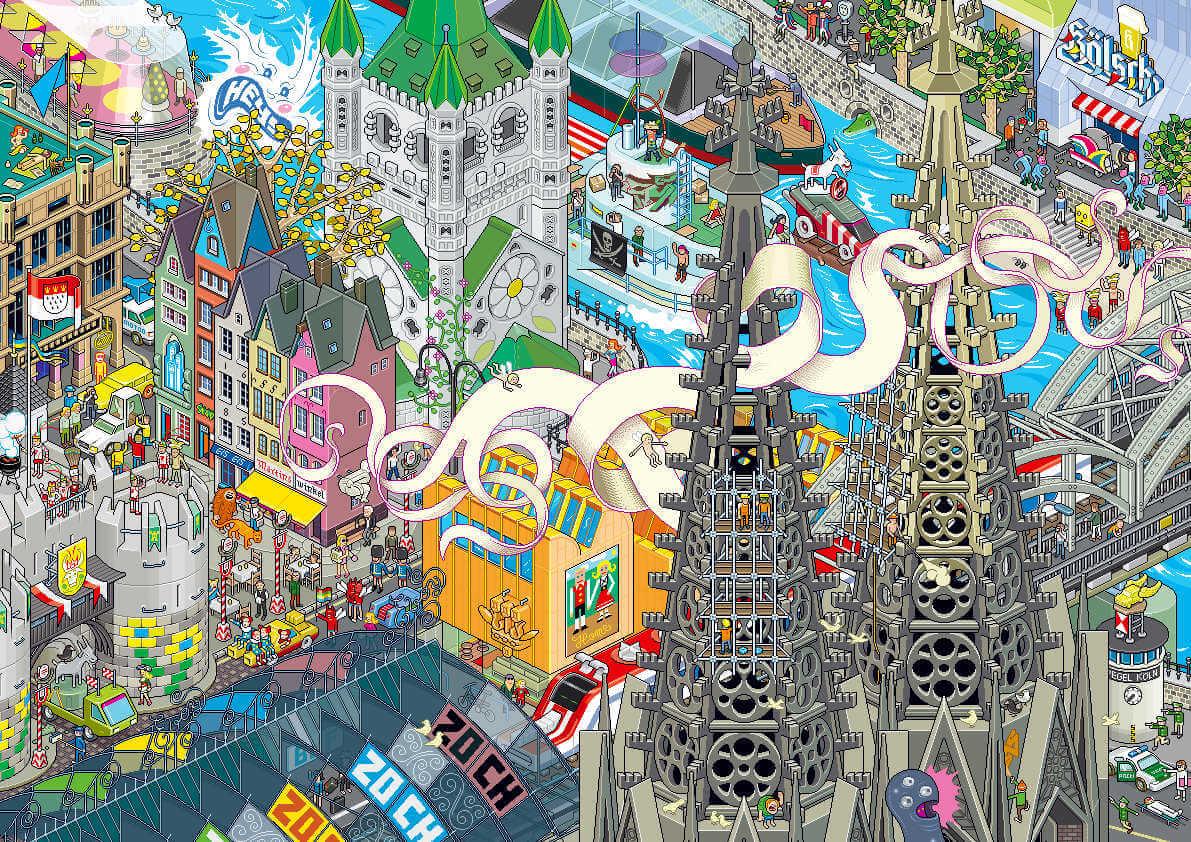 ciudad alemana en perspectiva isometrica en pixel art