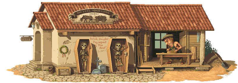 casita pixel art con esqueletos