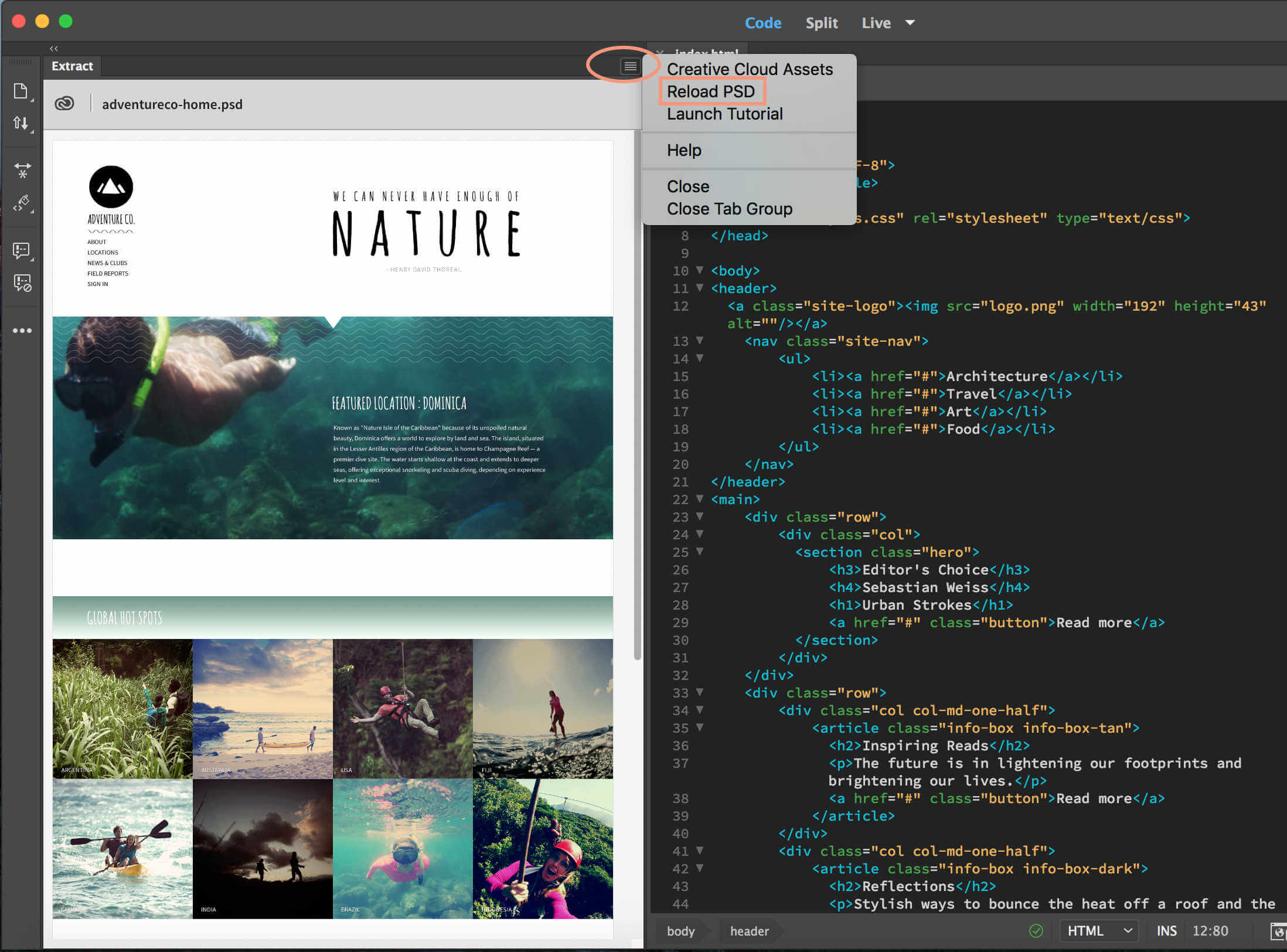 Interface de Adobe Dreamweaver