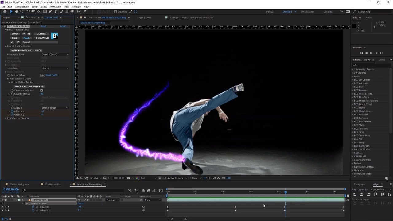 Interface de Adobe After effects