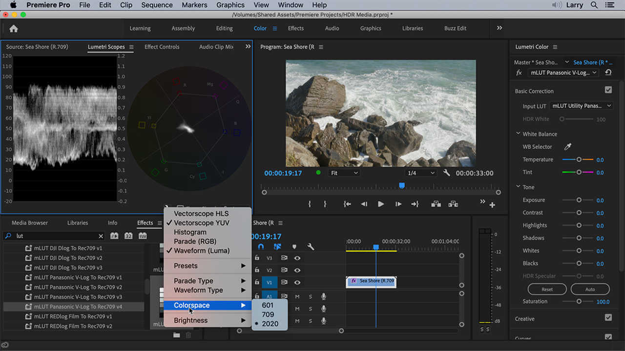 Interface de Adobe Premiere