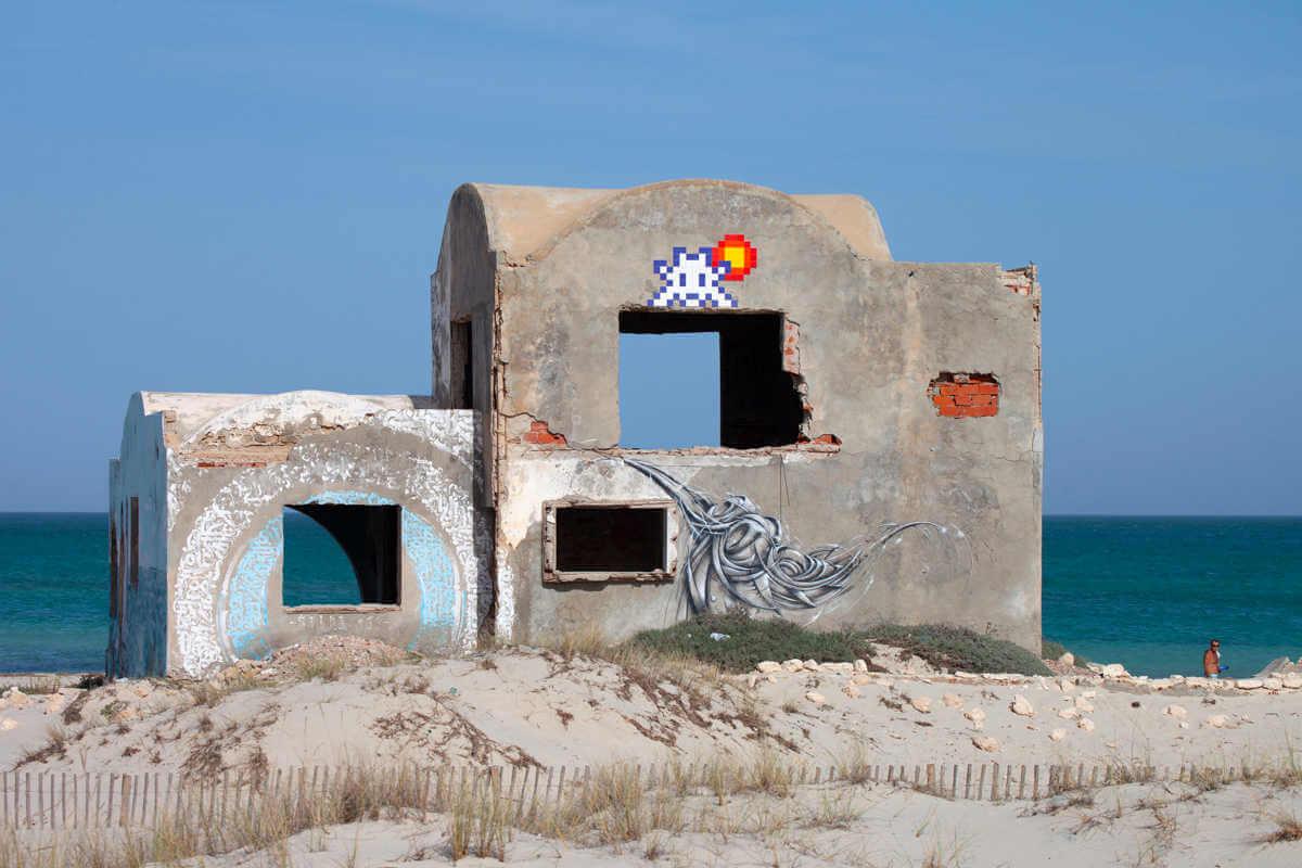 Space invader street art en Djerba