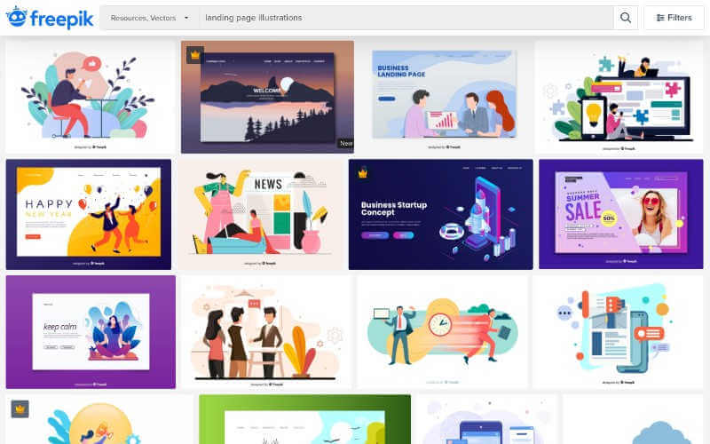 Freepik, portada de la web con ilustraciones gratis