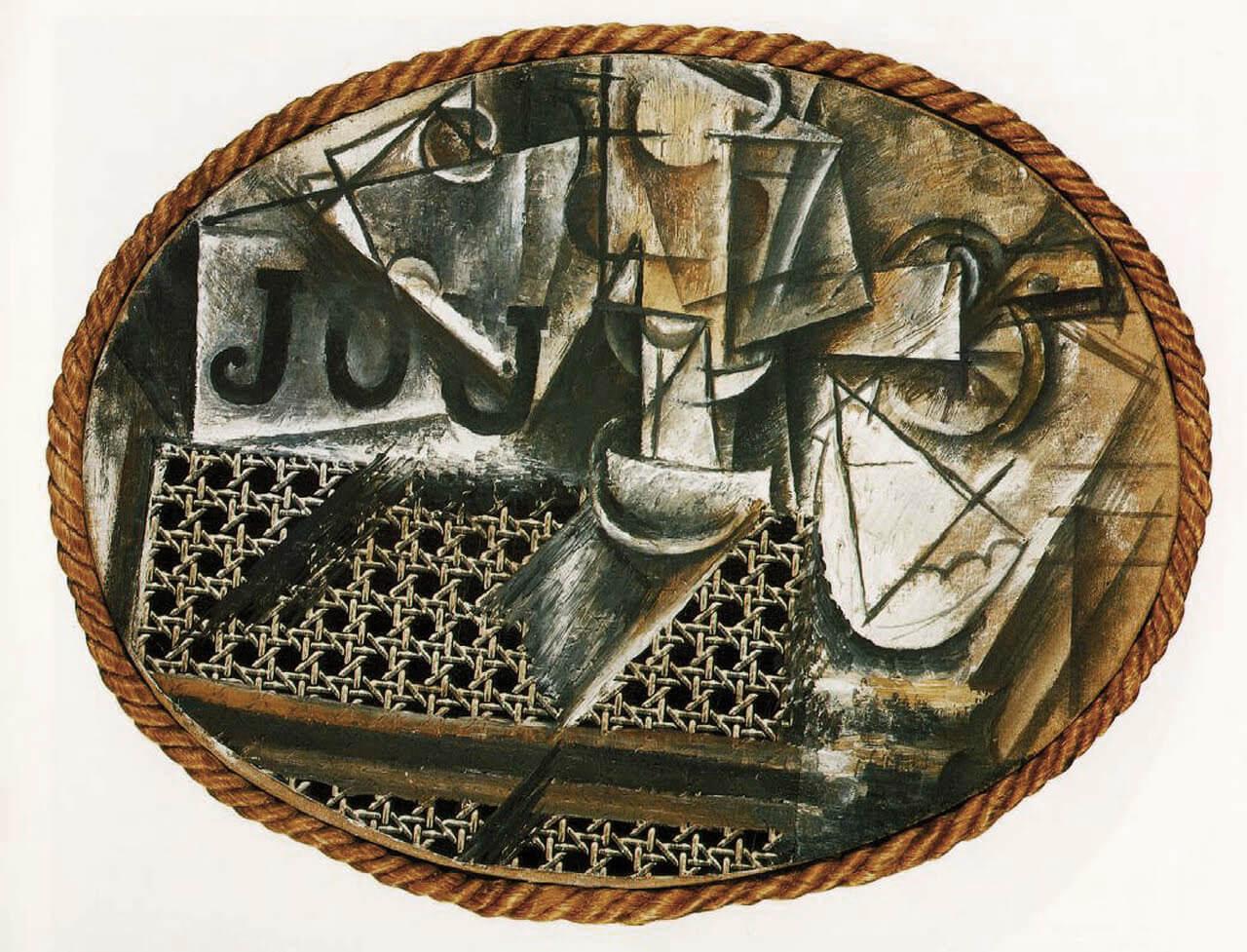 Naturaleza muerta con silla de rejilla Collage 1912 Picasso