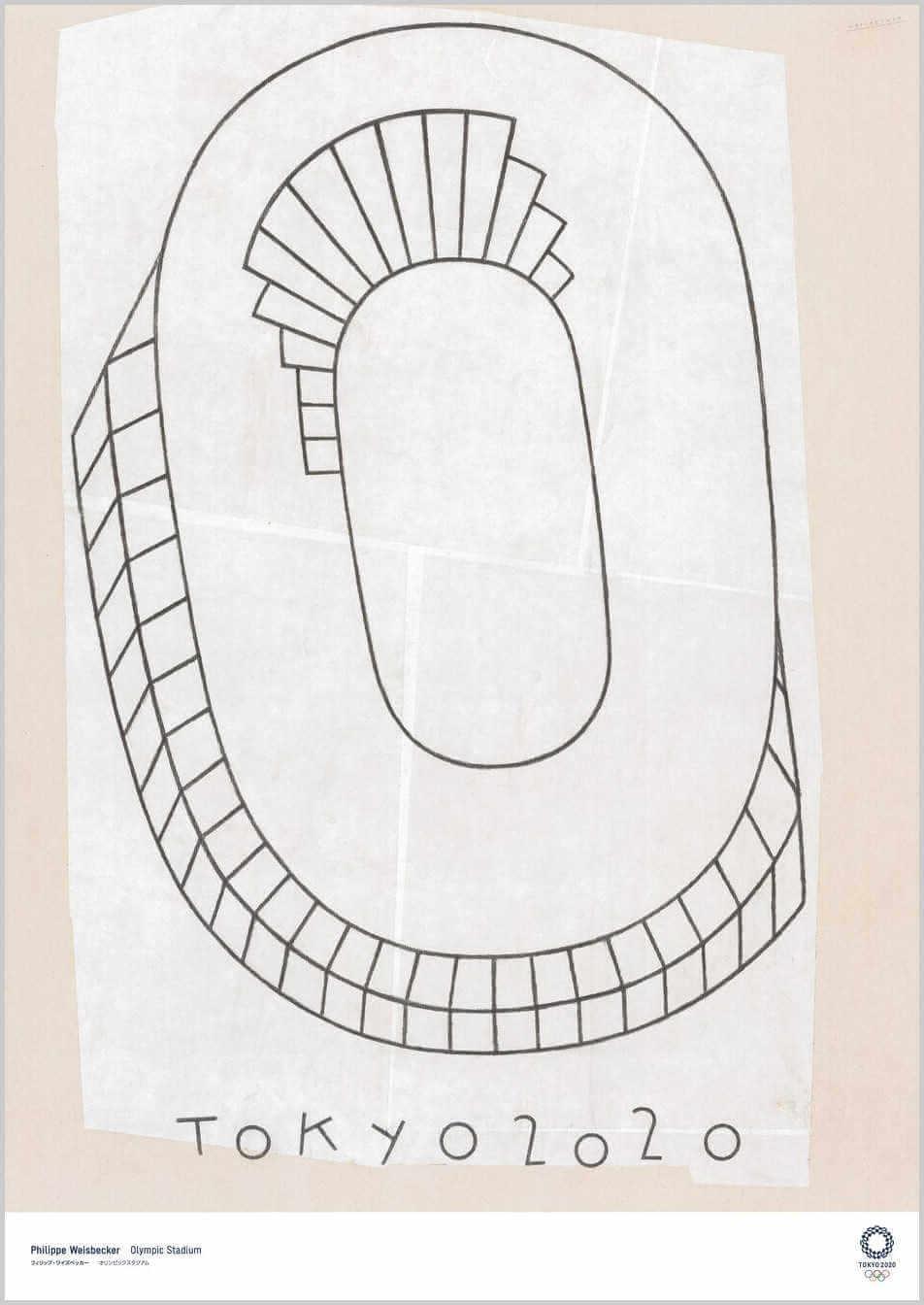 Cartel de estadio en tokyo 2020 creado por el artista Philippe Weisbecker