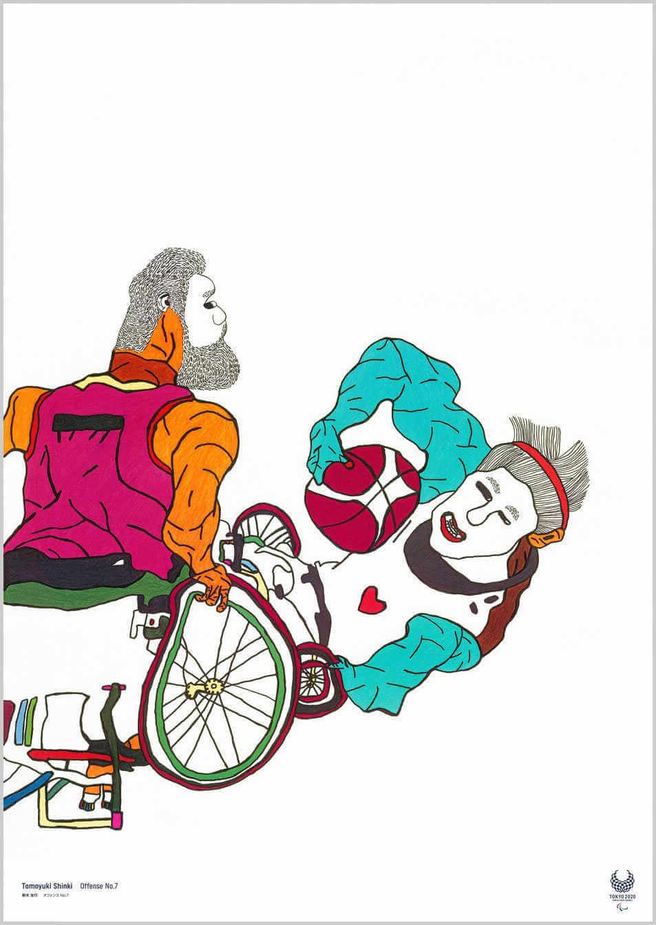 Poster de las paraolimpiadas de tokio 2020 ilustrado por el artista Tomoyuki Shinki