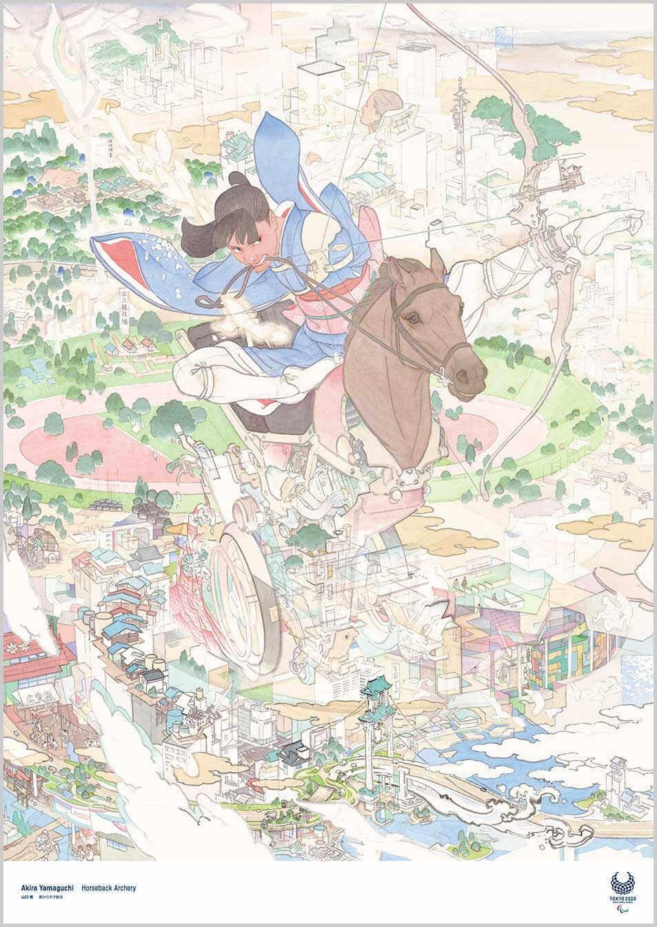 Cartel para las paraolimpiadas de tokio 202 creado por Akira Yamaguchi, mujer volando sobre un caballo