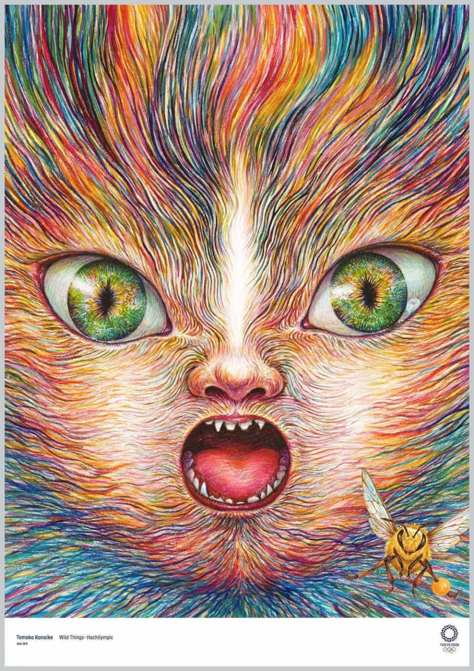 Cartel para los juegos olimpicos de tokio con la cara de un gato de colores hecho por Tomoko Konoike