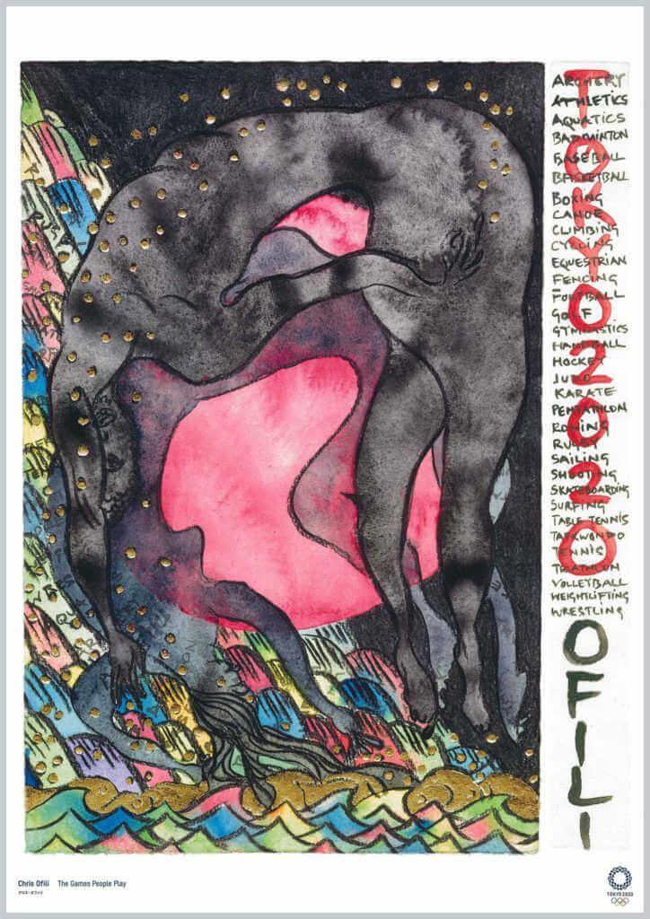 Poster para los juegos olimpico de tokio heco por el artista Chris Ofili