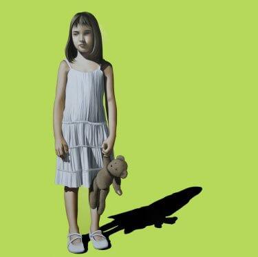 Pintura de niña con oso de peluche de Xevi vilaro