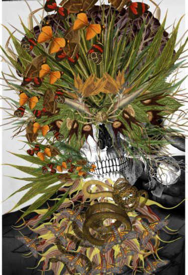 Collage hecho con calaveras y flores