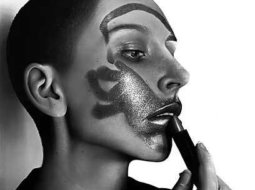 Kit King pintura al oleo hiperrealista, mujer pintandose los labio