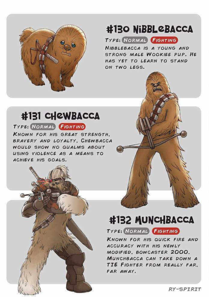 Poke wars, star wars y pokemon chewbacca