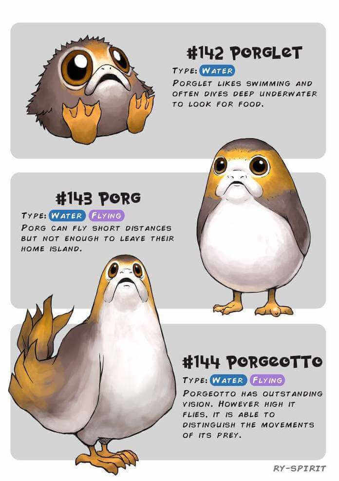 Poke wars, star wars y pokemon porg