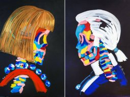 Anna Wintour y Karl Lagerfeld painting