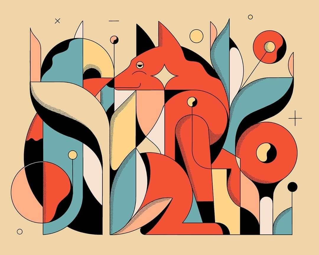 ilustracion geometrica de un zorro