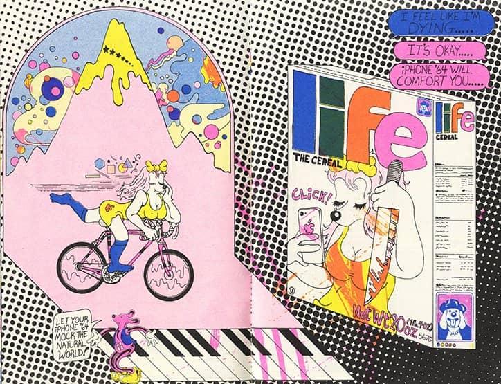 ilustración de chica montando en bicicleta por Brian Blomerth