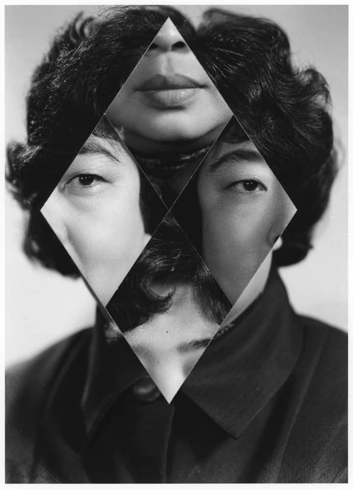 collage de hombre creando un rombo en su cara por kensuke koike