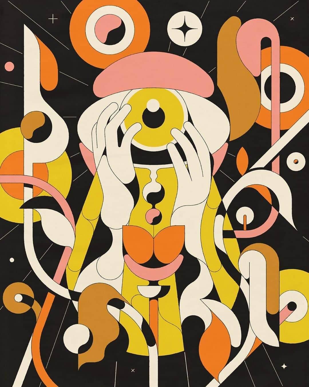ilustracion geometrica de Calvin sprague