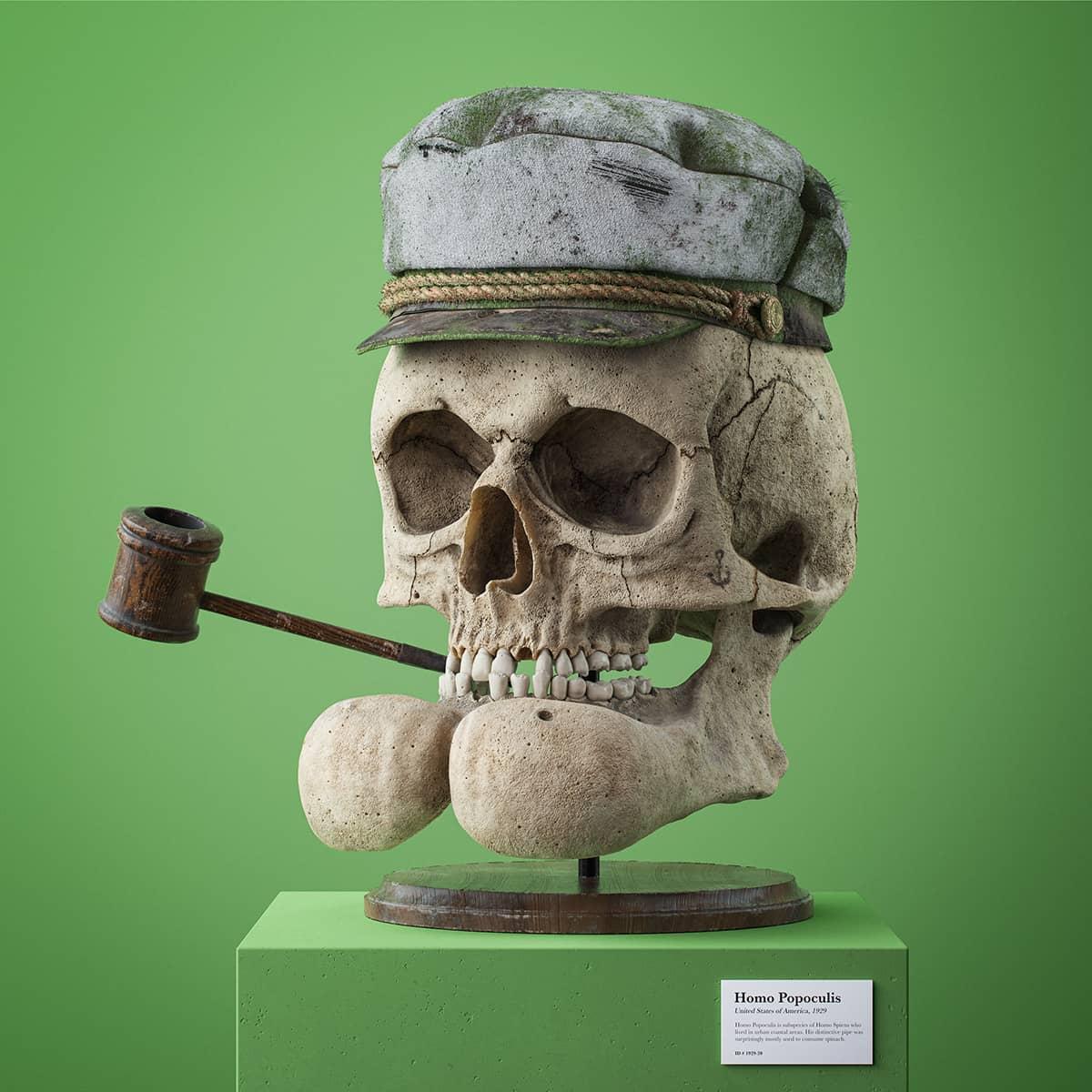 recreación del craneo en 3d de popeye por Filip Hodas
