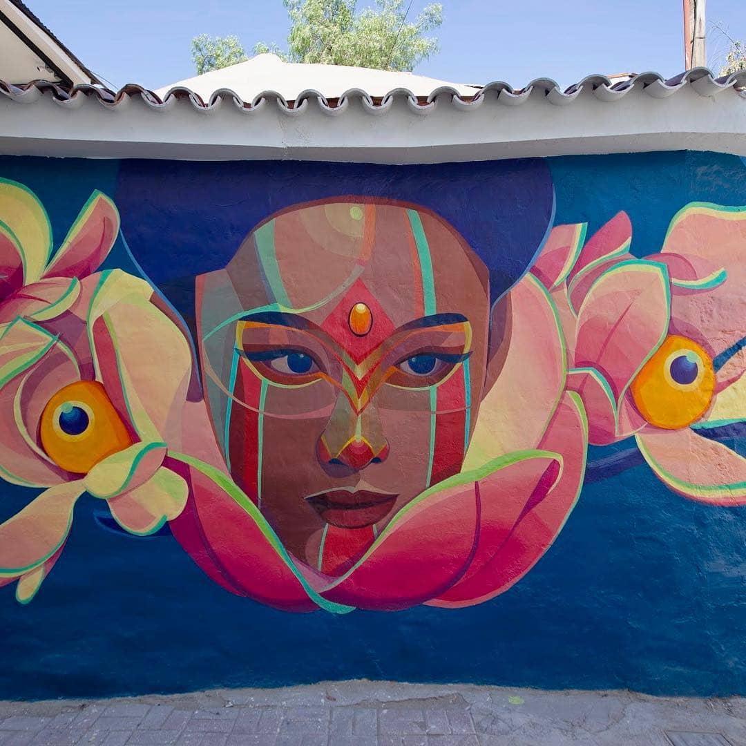 street art de una mujer colombiana de gleo