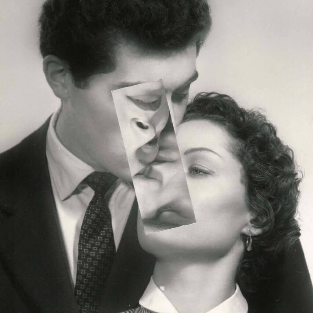 collage de pareja besandose
