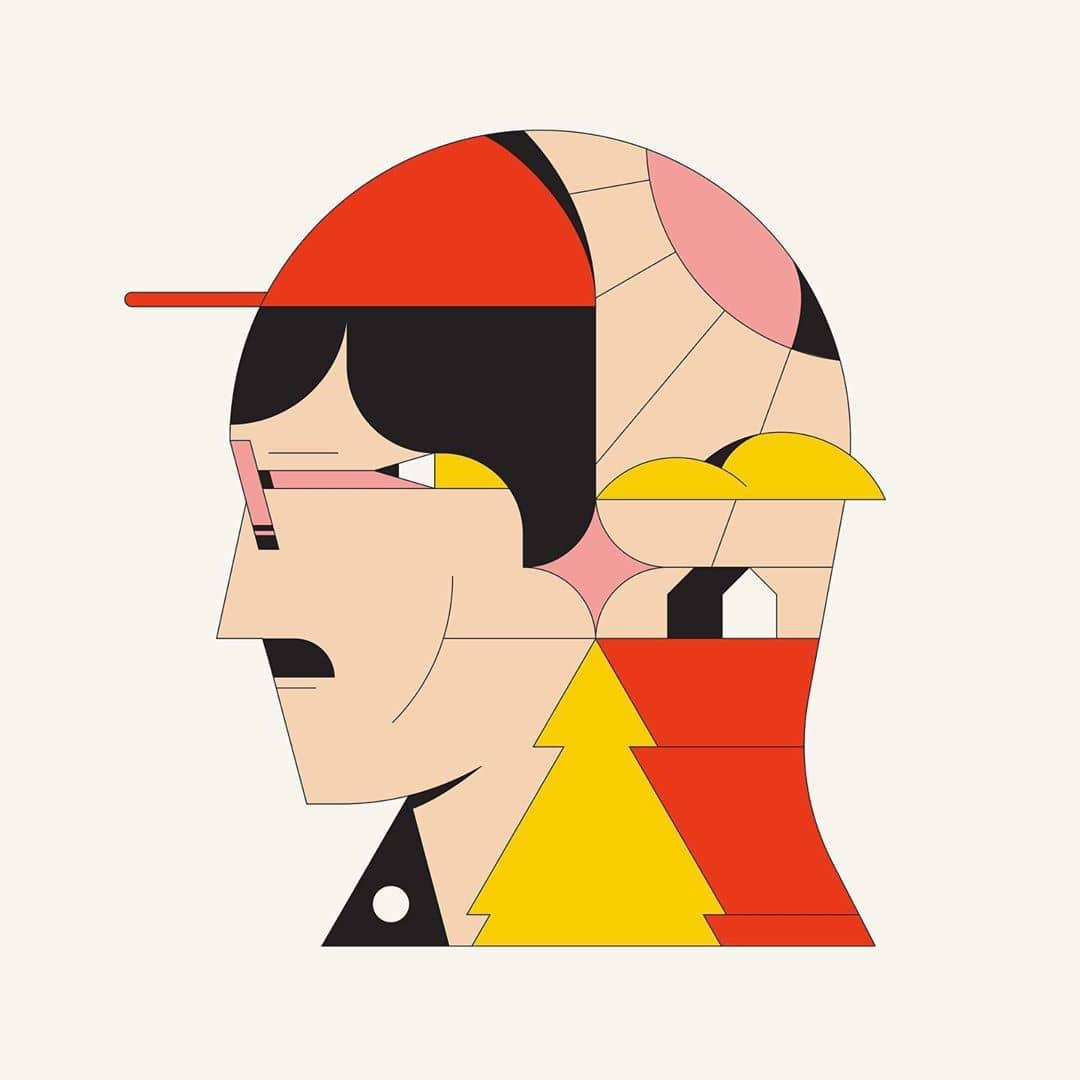 rostro geometrico de Calvin sprague