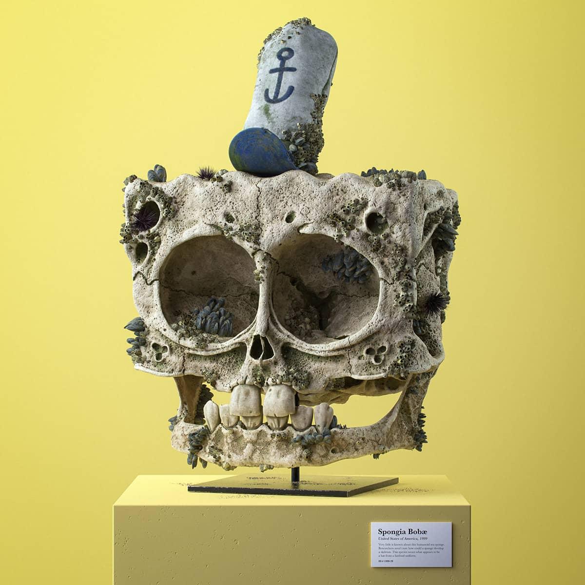 craneo en 3d de bob esponja hecho por Filip Hodas