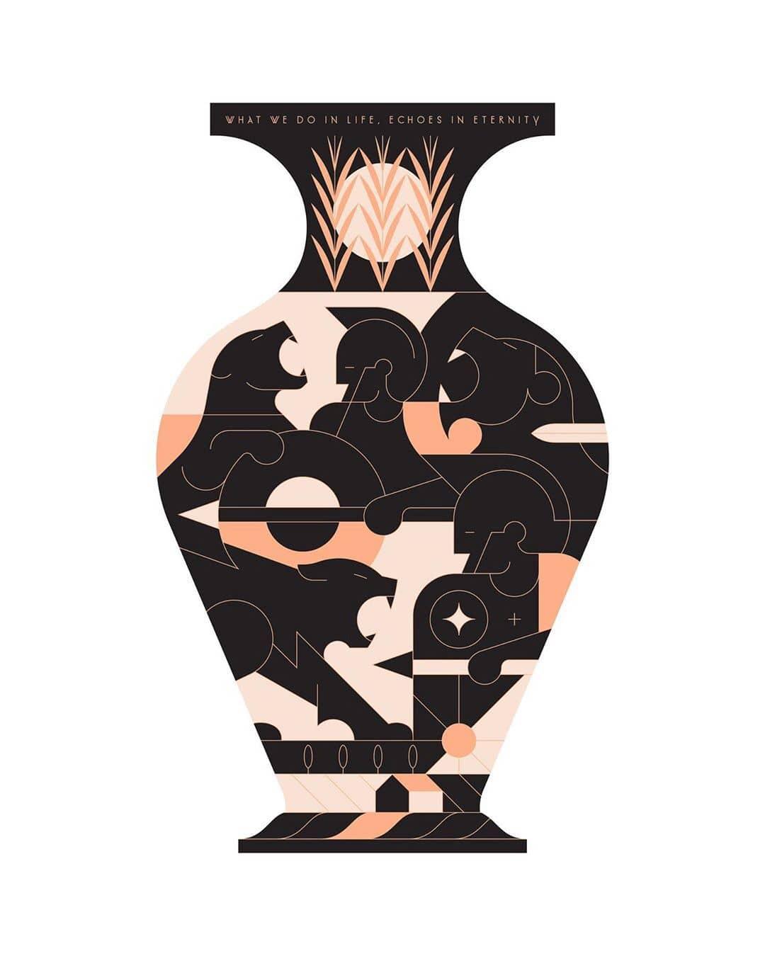 jarron griego en ilustracion de Calvin sprague