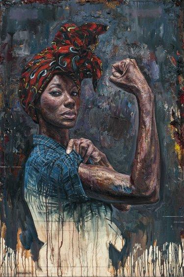 Pintura de mujer de color fuerte, por tim okamura