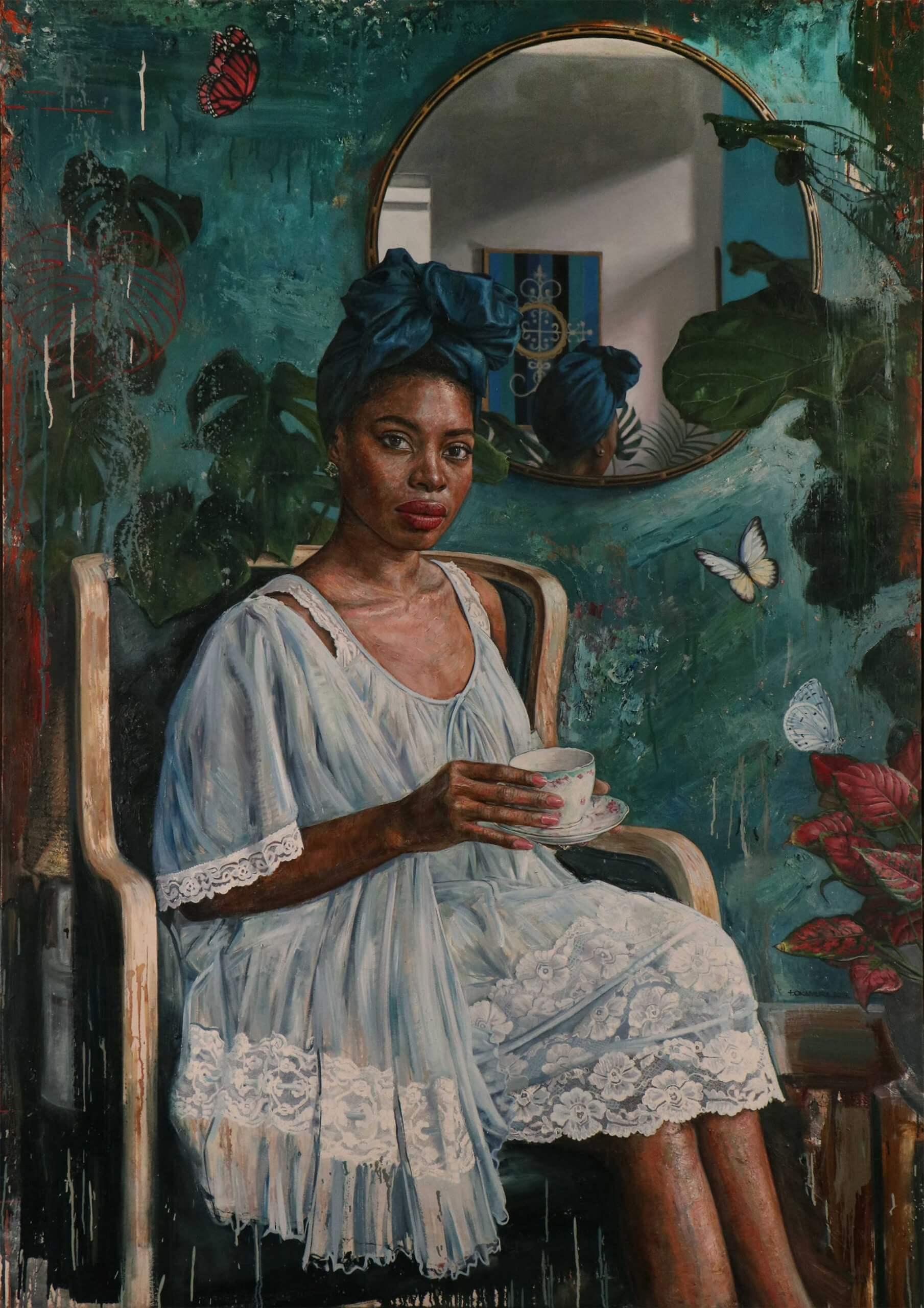 pintura de mujer de color tomando café por Tim okamura