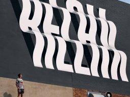 efecto optico con letras en murales ben johnston