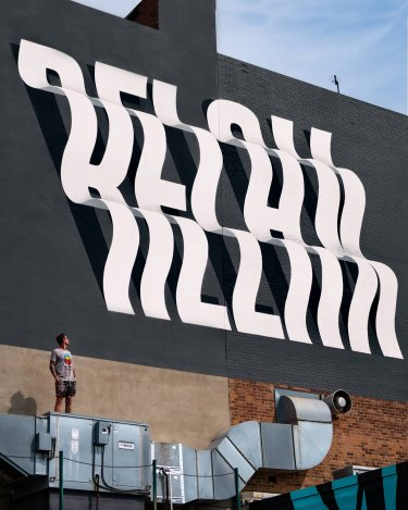 efecto optico con letras en murales ben johnston