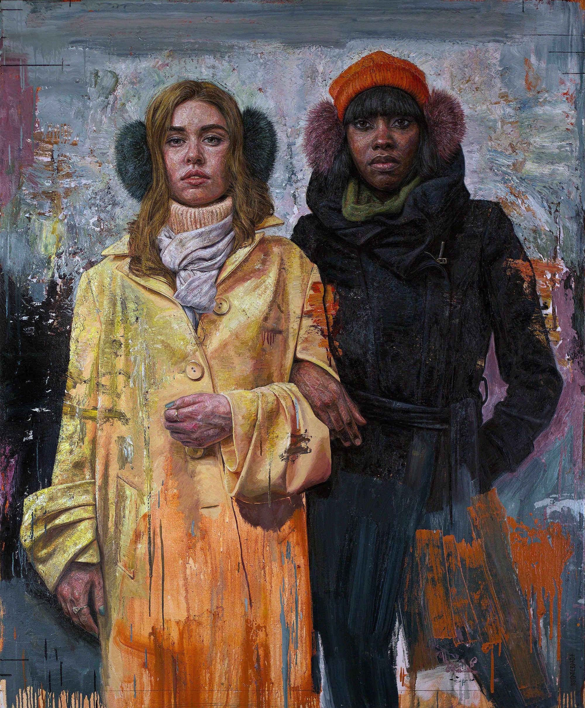 pintura de dos chicas con abrigo y orejeras hecha por tim okamura
