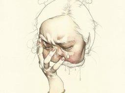 Mujer con mano en la cara, pintura de haejung lee