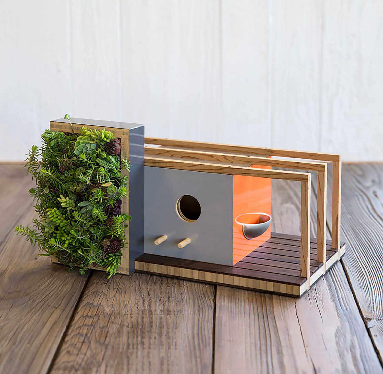 casa moderna para pajaros, pajarera de diseño