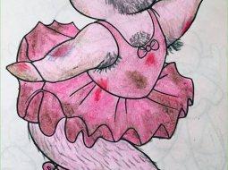 cerdito coloreado por un adulto