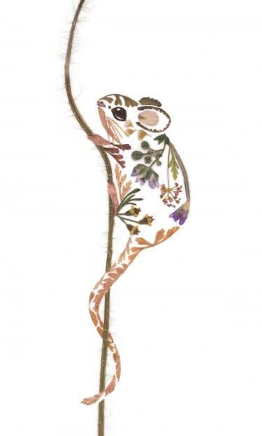 un raton creado con hojas secas