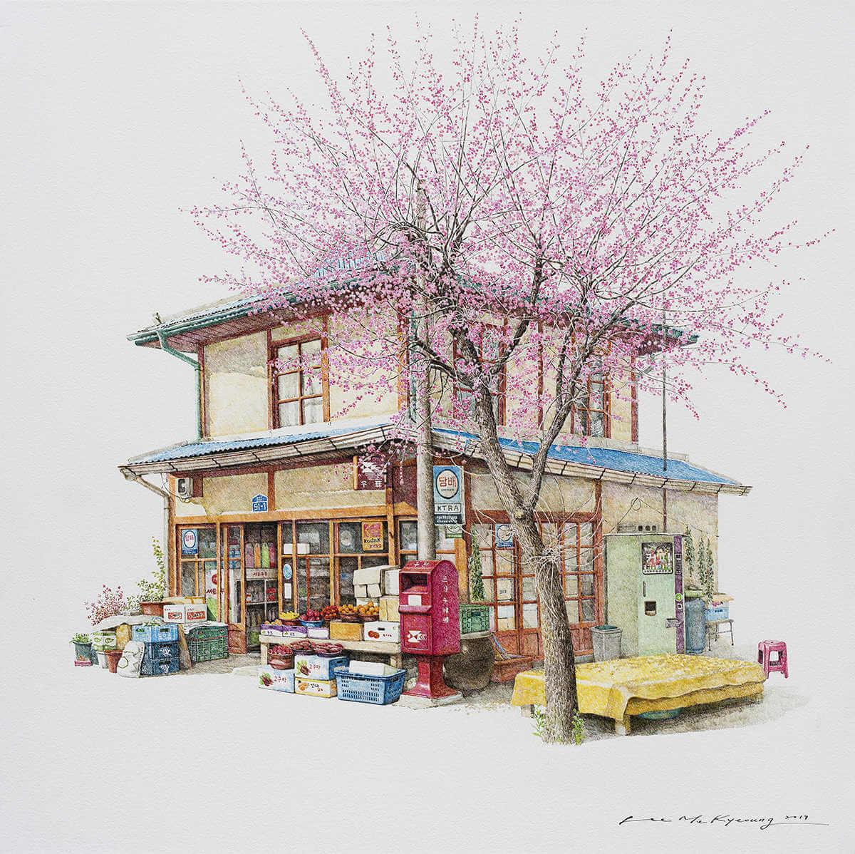 Ilustracion tiendas tradicionales en corea del sur