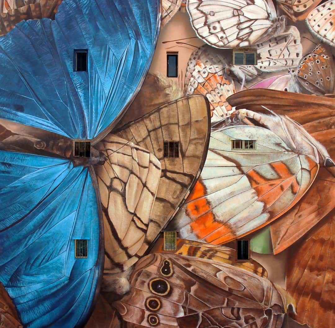 mantra arte callejero mariposas