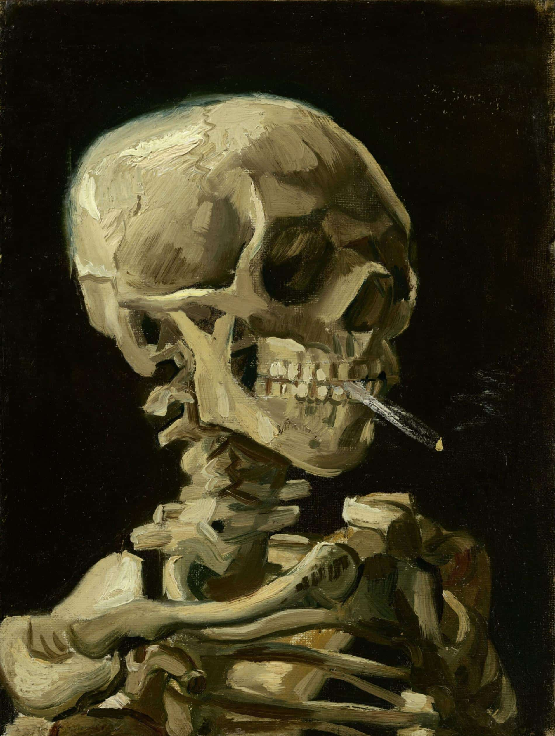 Head of a Skeleton with a Burning Cigarette van gogh