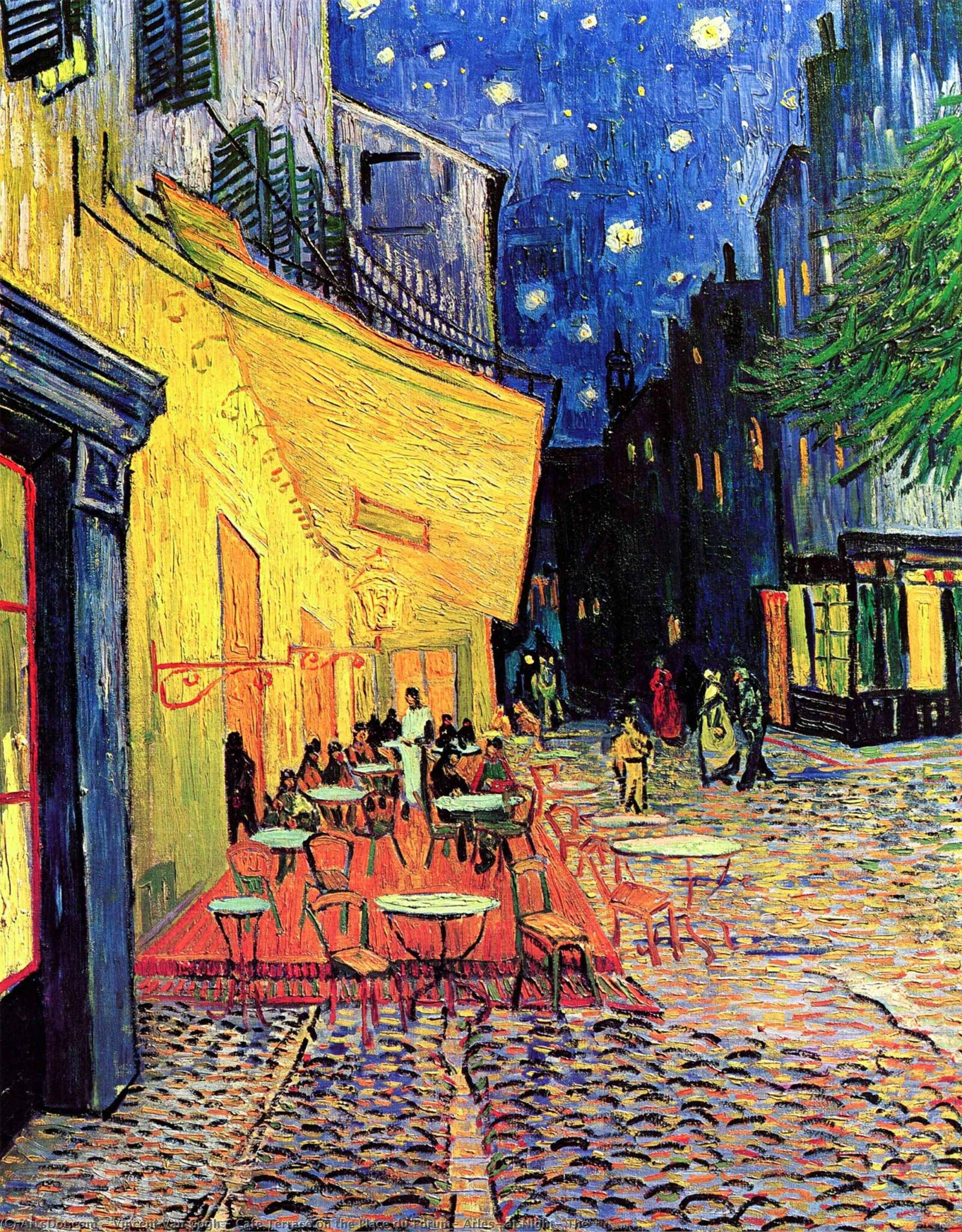 Terrace of a café at night van gogh
